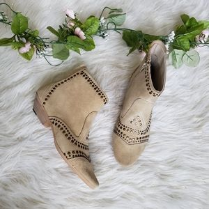 Matisse Cream Suede Studded Ankle Boots